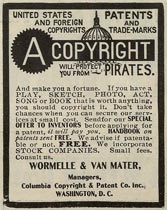 Early U.S. ad offering copyright help.