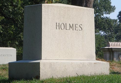 Holmes tombstone at Arlington National cemetery: More than three decades on the U.S. Supreme Court bench.