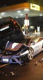 "The Italian police totaled its ""on loan"" Lamborghini in 2009."