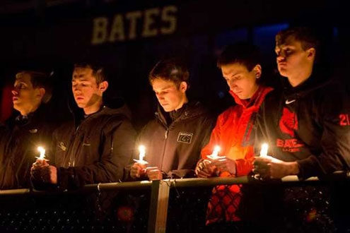 Bates College vigil for athlete John Durkin, a junior who died in Rome in February.