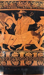 Detail from Euphronious krater, smuggled out of Italy in 1972 and returned in 2006.