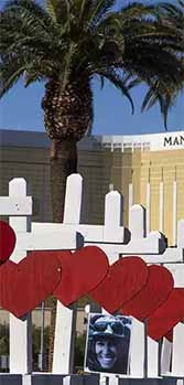 Crosses honor the 58 victims of the Las Vegas shooting.