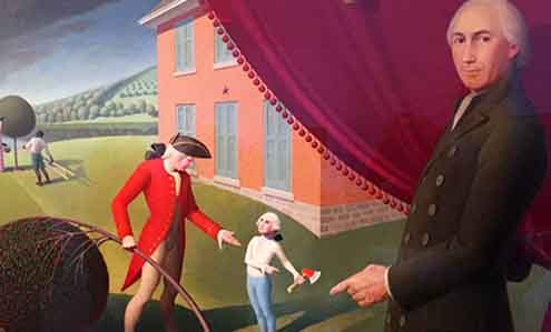 """""""I cannot tell a lie,"""" said young George Washington. Detail from a painting by Grant Woods."""