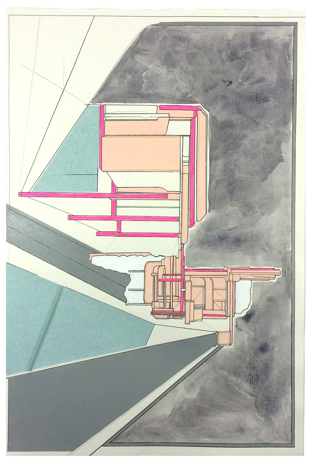 On-set  , 2015  watercolor, gouache, acrylic, marker, pencil, collage on paper  22 x 14.75 inches