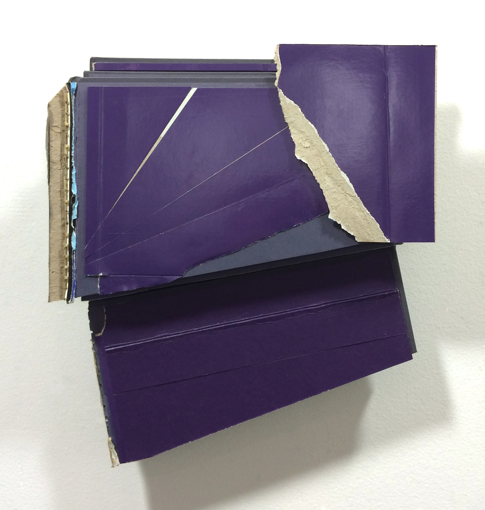 Phase  , 2015  found (unpainted) cardboard, cut book cover, foamcore  12 x 10.75 x 2.25 inches