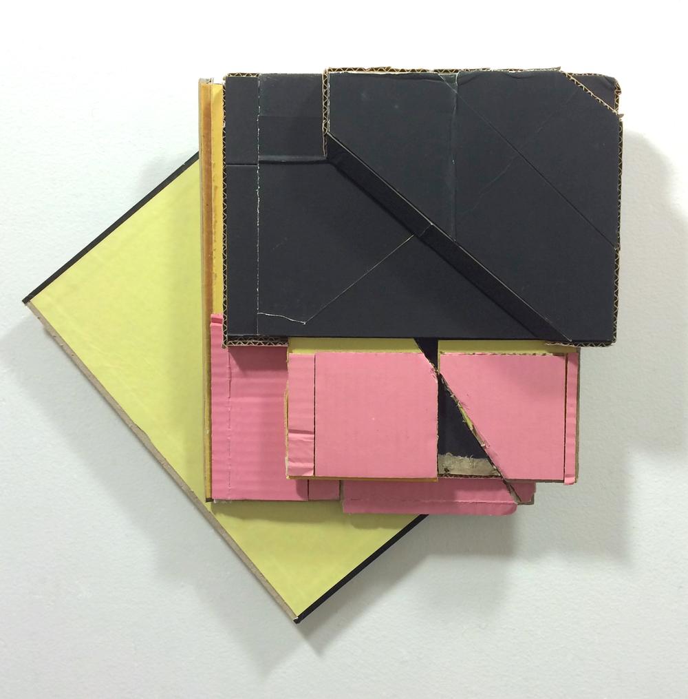 Corner Lot 1  , 2015  found (unpainted) cardboard, cut book cover  14.5 x 15.5 x 2.5 inches