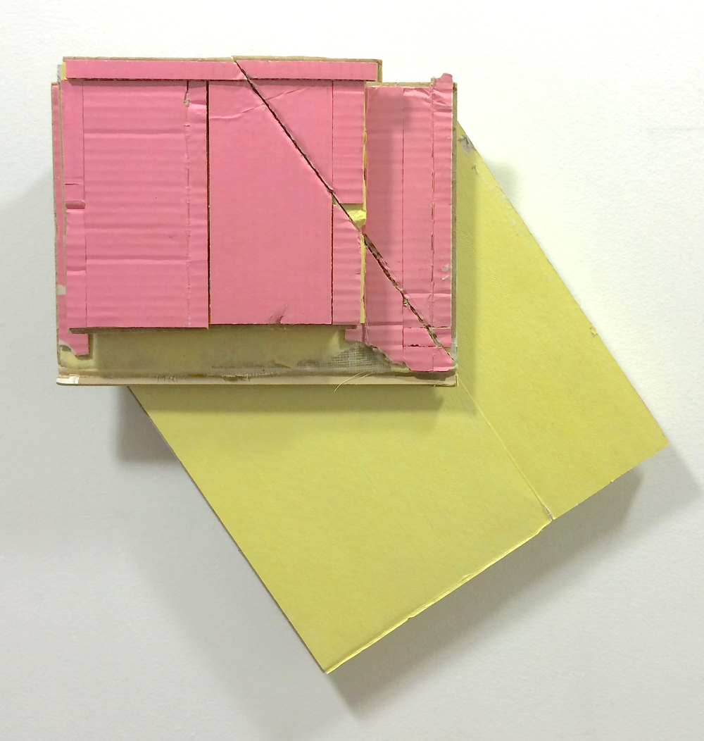 Corner Lot 4  , 2015  found (unpainted) cardboard, cut book cover  16 x 16.25 x 2.5 inches