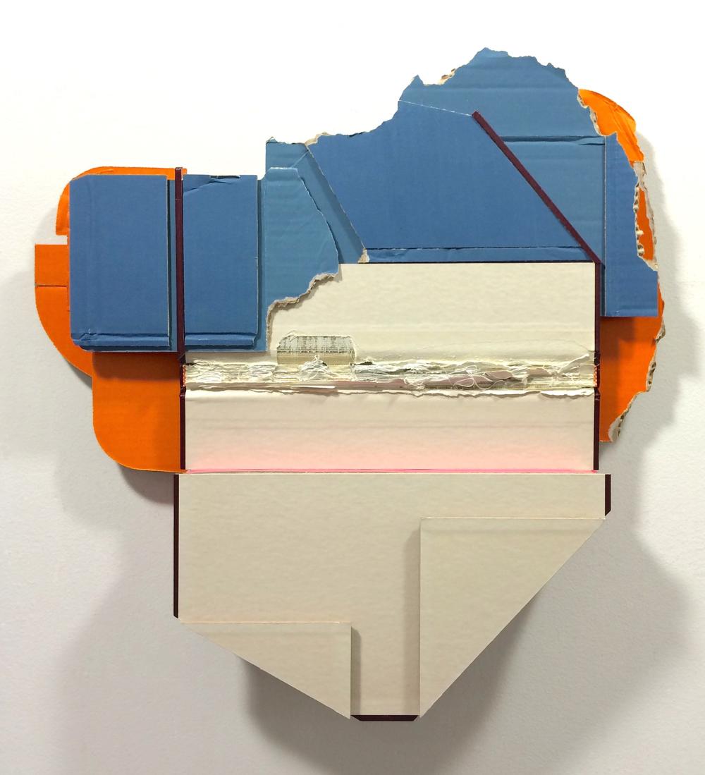 Perimeter ,  2015  found (unpainted) cardboard, cut book cover, foamcore  19.5 x 19 x 2.5 inches