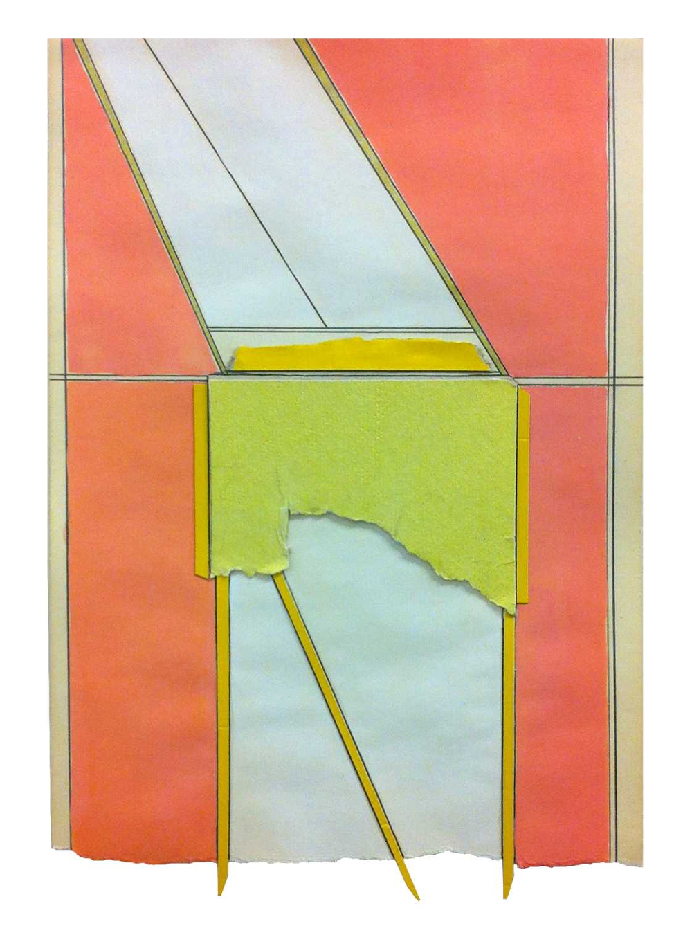 Ply  , 2015  pencil, gouache, collage on found paper  10.25 x 7 inches