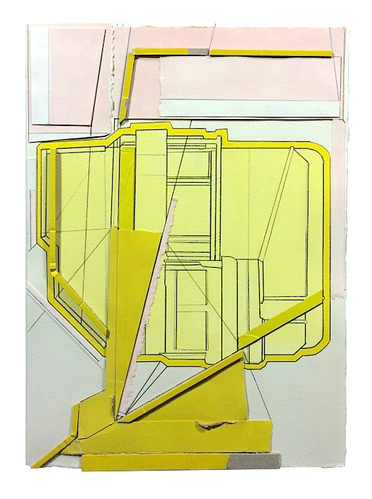 Section  , 2016  collage, gouache, pencil, marker on paper  13 3/4 x 10 inches