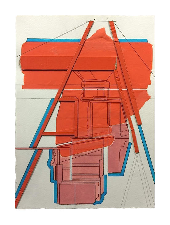 Rig  , 2016  Collage, gouache, pencil, marker on paper  13.75 x 10 inches