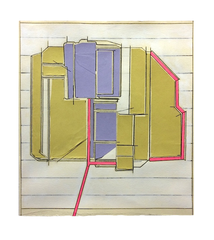 Take-in  , 2016  Collage, pencil, marker, stain on paper  11.25 x 10 inches