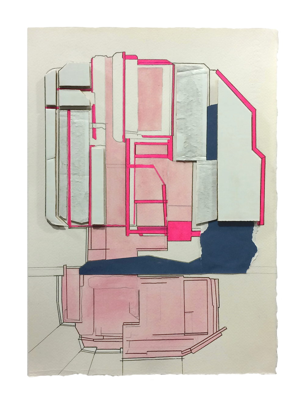 Residence  , 2016  Collage, gouache, marker, graphite on paper  13.75 x 9.75 inches