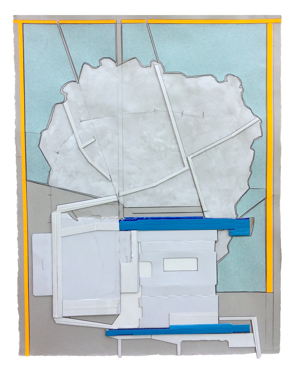 Marker , 2016  Collage, gouache, pencil on paper  25 x 19 1/4 inches