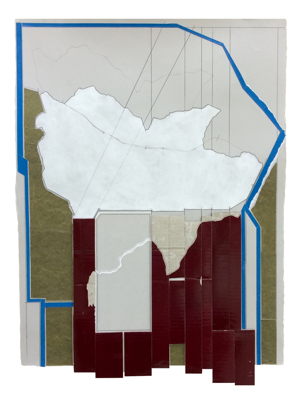 Perimeter , 2016  Collage, gouache, pencil on paper  26 3/4 x 19 1/4 inches