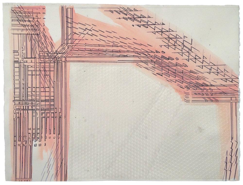 Derivative Plans (Hiatus) , 2017  Gouache, ink, graphite, plastic on paper  19.75 x 26.25 inches (50.2 x 66.7 cm)