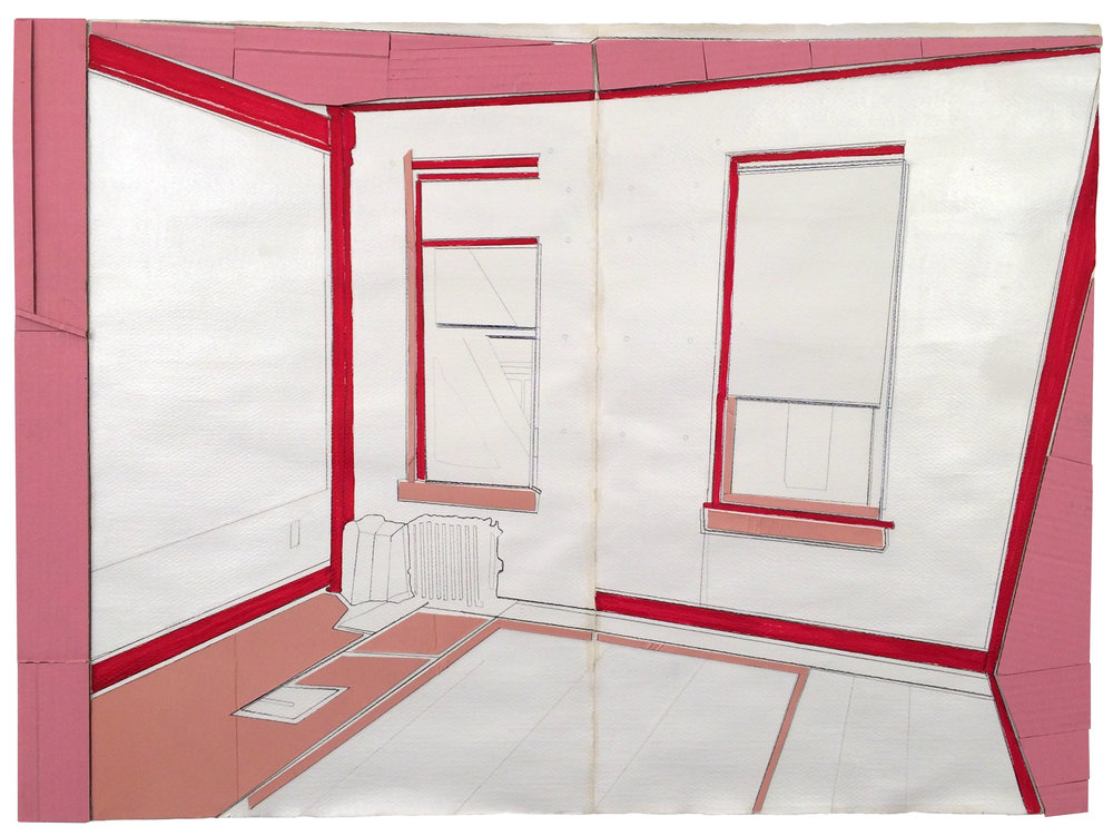Removal Room (Pink)  , 2017  collage, marker, pencil, white stain on paper  22.75 x 30 inches (57.8 x 76 cm)
