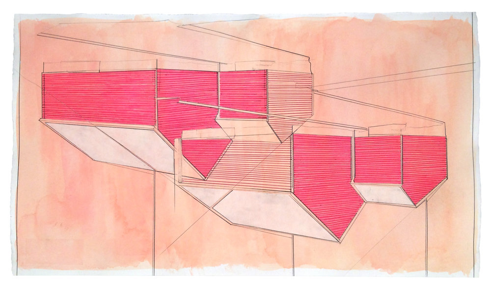 Points of Entry ,  2017  Gouache, marker, pencil, pen, collage on paper  12.5 x 22.25 inches (31.8 x 56.5 cm)