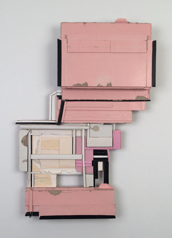 habit habit  , 2012  found (unpainted) cardboard &foamcore  25.5L x 18.5W x 2.25D inches