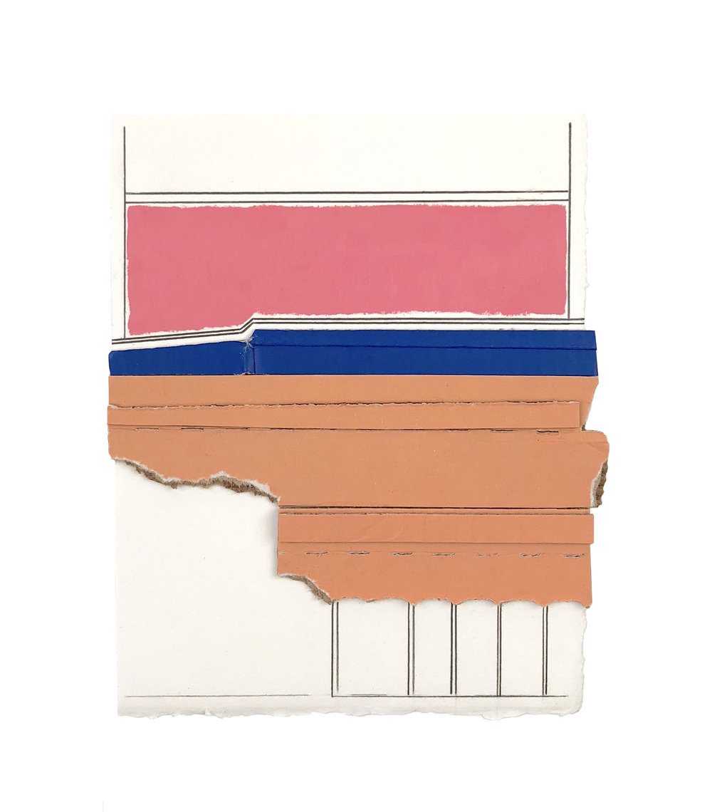 Mission  , 2018  cardboard collage, acrylic, pencil on paper  7 x 5.75 inches    collection