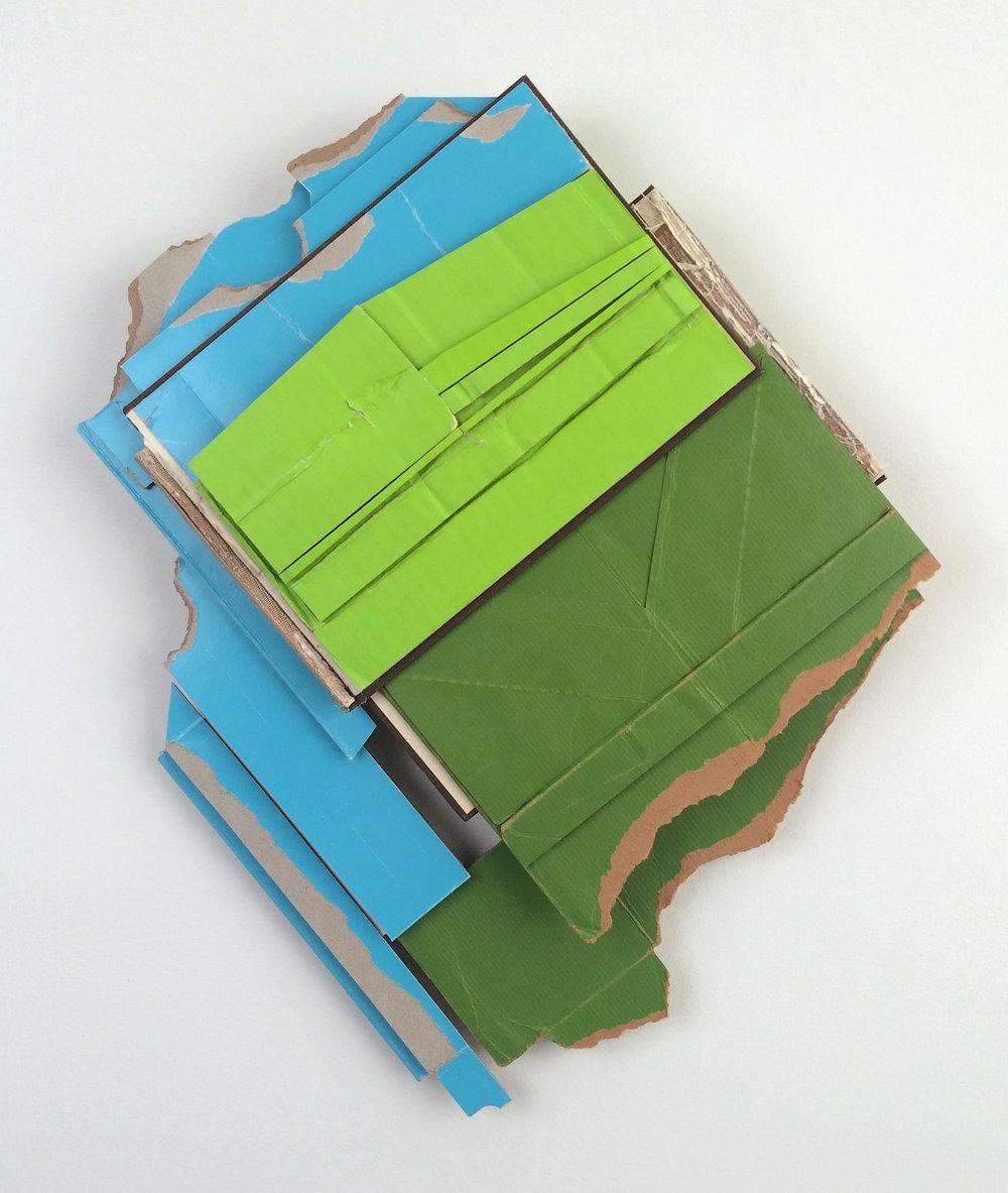 Track Record  , 2018  found (unpainted) cardboard, cut book cover, foamcore  20.5 x 17 x 2.75 inches