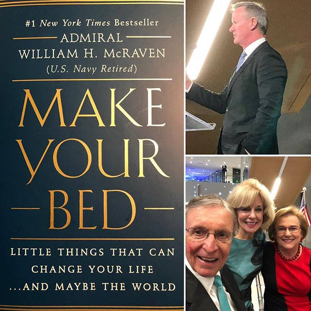 "Do something new day 2665.  Have you read ""Make YourBed"" it is inspired thoughts by Admiral Bill McGraven that encourages you to change your life and maybe the world. It is a must read - wise and wonderful!  Admiral McGraven and his wife were honored by the UTDallas Center for Brain Health at their Legacy dinner tonight. A Wow night of new and old friends and a fun night for all. Thank you Sandi and the great CBH team and we are inspired to improve brain performance for all. #somethingnew #dosomethingnew #makeyourbed #inspired #read #award #celebration #reading #bonniepitmandosomethingnew #somethingnew #newfriends #friendship #grateful #gratitude #newideas #chronicillness #chronicpain #spoonie #spoonielife #invisibleillness #happyday #happymoments"