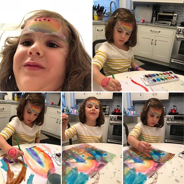 Do something new day 2656. Franny came back from a fair with a bejeweled rainbow face painting. We quickly started painting and she choose Rainbows of course as she is one with them. Love her insights to life and the world around her. #rainbow #facepainting #rainbowpainting #mindful #celebrate #creative #beautiful #mindful #mindfulness #watercolor #happy #happymoments #newexperiences #newpainting #bonniepitmandosomethingnew #somethingnew #inthemoment #chronicillness #chronicpain #spoonie #spoonielife #invisibleillness #happyday