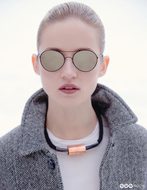 Alek Alexeyeva sunglass modeling campaign