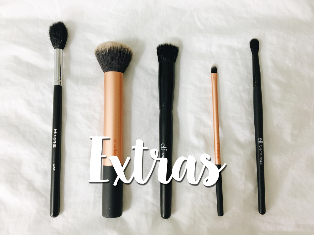 L to R: Morphe M501, RT Buffing Brush, ELF Small Stipple Brush, RT Detailer Brush, ELF Crease Brush