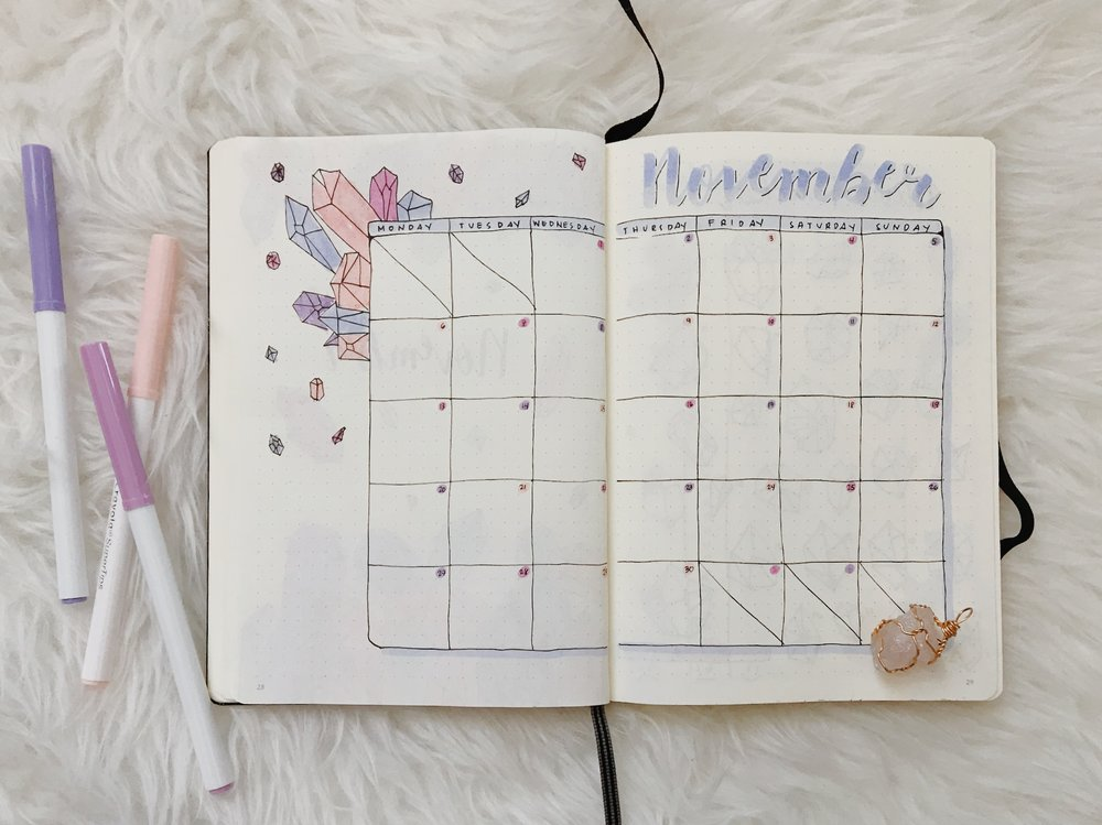 MY MONTHLY SPREAD -  switched to a more visually pleasing layout. I found that it helped me see the month better because I grew up looking at calendars.