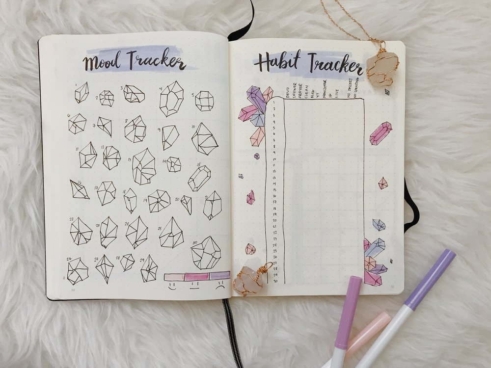 MY MOOD & HABIT TRACKERS - I adopted Amanda's new version of tracking things, and I loved her idea of coloring in a crystal (the theme of the month) depending on my mood that day. I feel more motivated to do these trackers because I know in the end, they're gonna look pretty. My trackers in my past bullet journal were big failures to say the least haha.