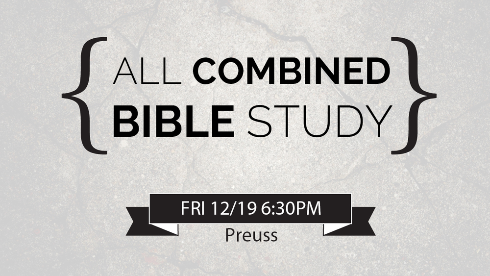 Bible Study this week will be combined, starting at 6:30PM at Preuss. Pickups at 6PM at Pangea, Sun God Lawn, and Triton Statue. Join us to watch The Hobbit 3 afterwards!