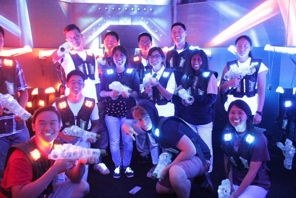 LASER TAG - Starting off home group bonding times with a few laser-blasting games of laser tag! We've got some sharp shooters!