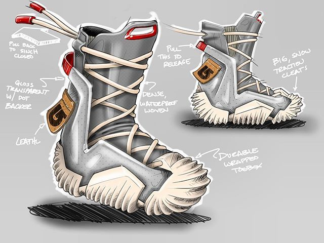 2018 - Burton Snowboard Boot concept ... Ratchet system holds tension when laces are pulled at rear, released by pull strap below. Outsole inspired by vintage space boots, and designed to bring a modern energy to the Burton brand while still honoring their heritage.