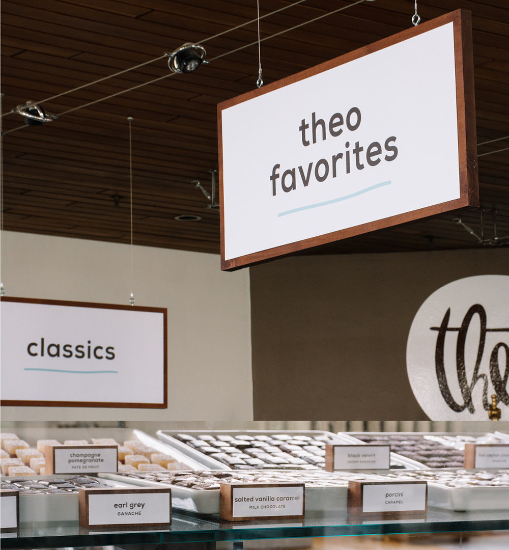 Theo Chocolate Retail Signage Configuration & Design