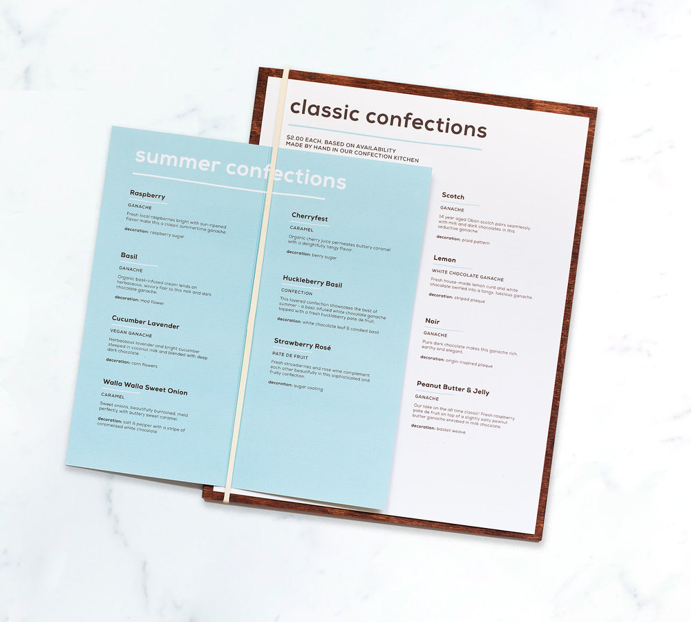 Confection Menu
