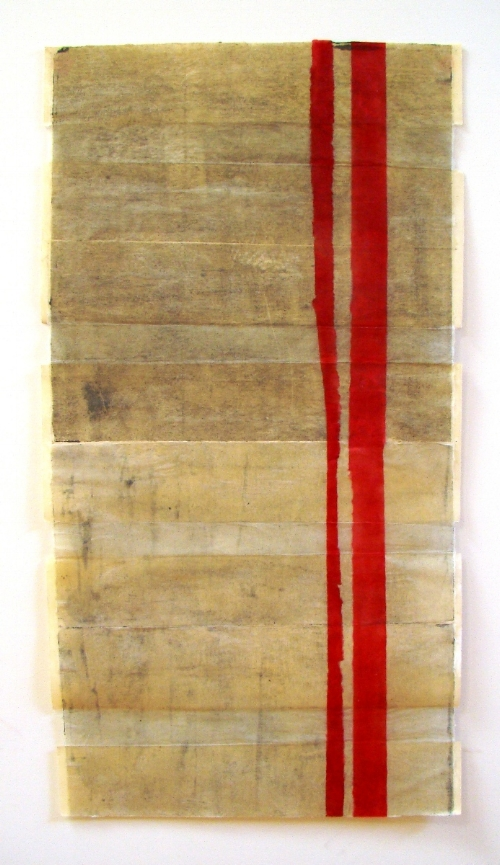 8 untitled woodblock with collage    ink and wax on mulberry paper and arches cover 24 x 48 inches 2008.JPG