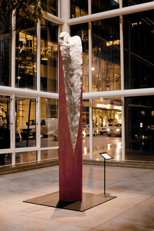 Totem II  /  Oxidized and Stainless Steel / 12.5 x 2 x 2 feet | 3.8 x .6 x .6 meter