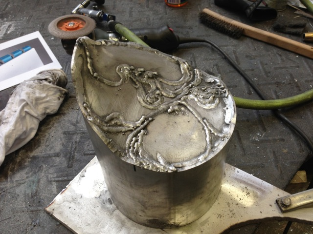 First section plated and interstitial pattern being fabricated