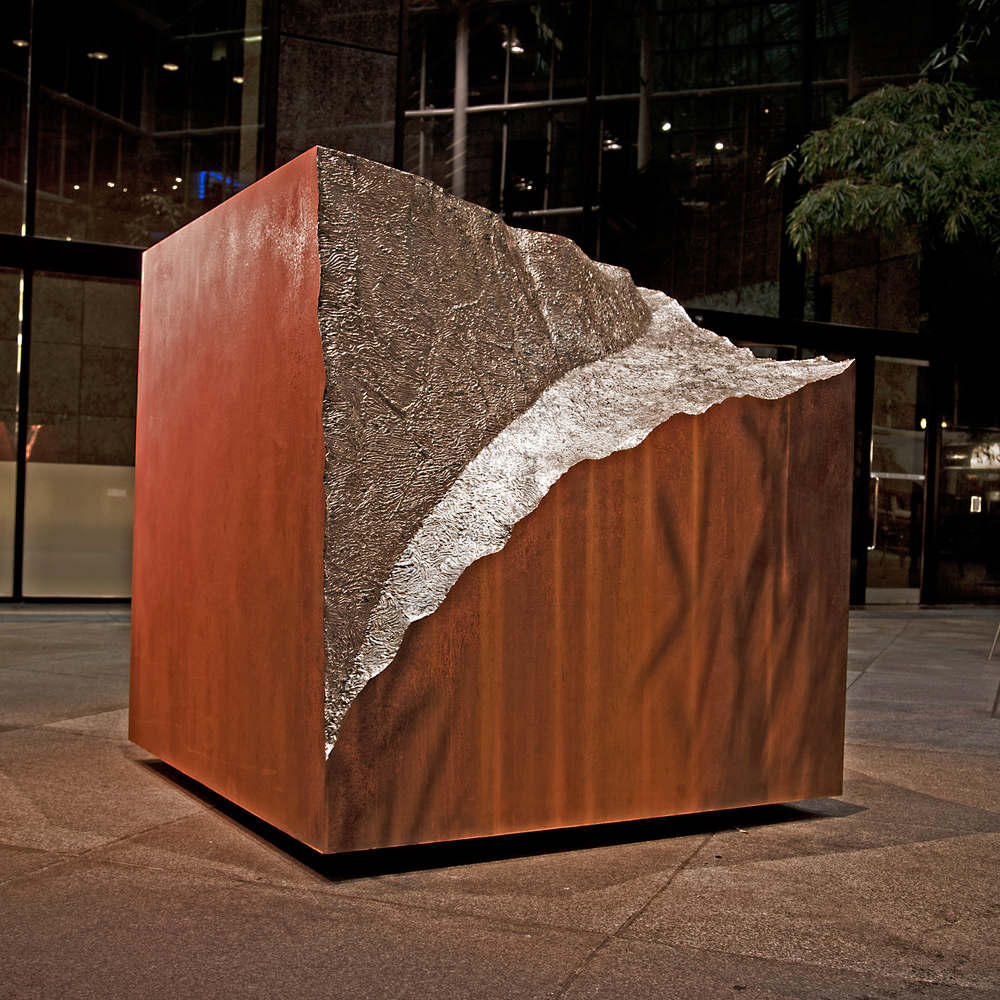 Vestigial Block   CorTen and Stainless Steel 6.25 x 6 x 6 feet  2011 Exhibition view, IBM Atrium, New York City