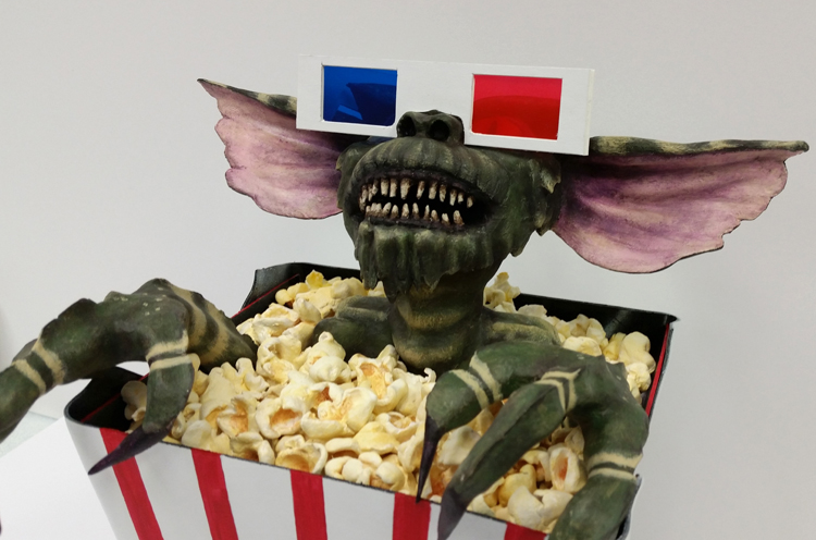 *Gremlin and popcorn - paper clay, acrylic  Bucket - vinyl records, acrylic