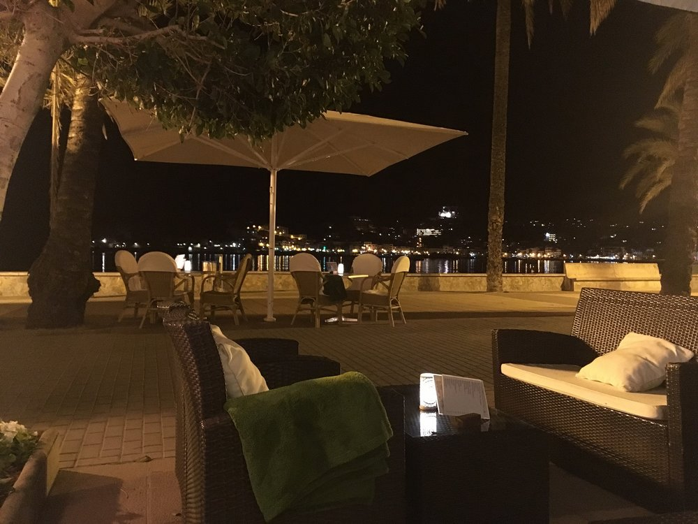 Hotel Marina terrace lounge on the harbor front, Mallorca