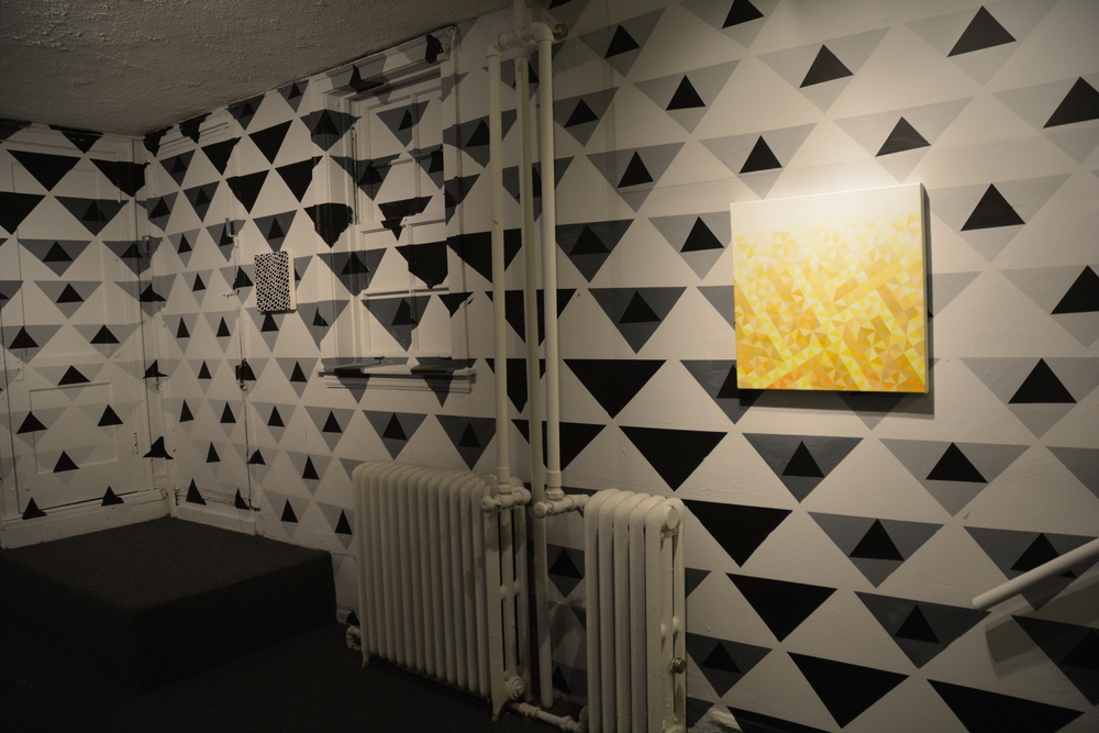 Installation view #55 (left) #70 (right) on site specific wall painting