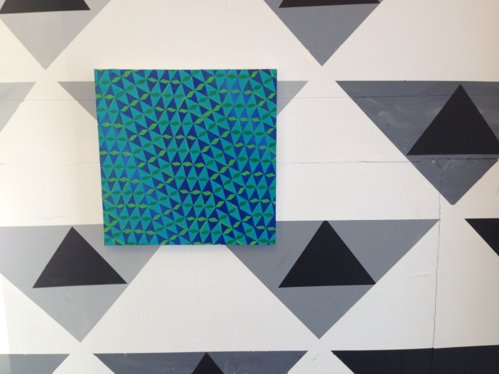 "#57 (2014) Acrylic on Panel, 12""x12"", Installed on site specific wall painting"