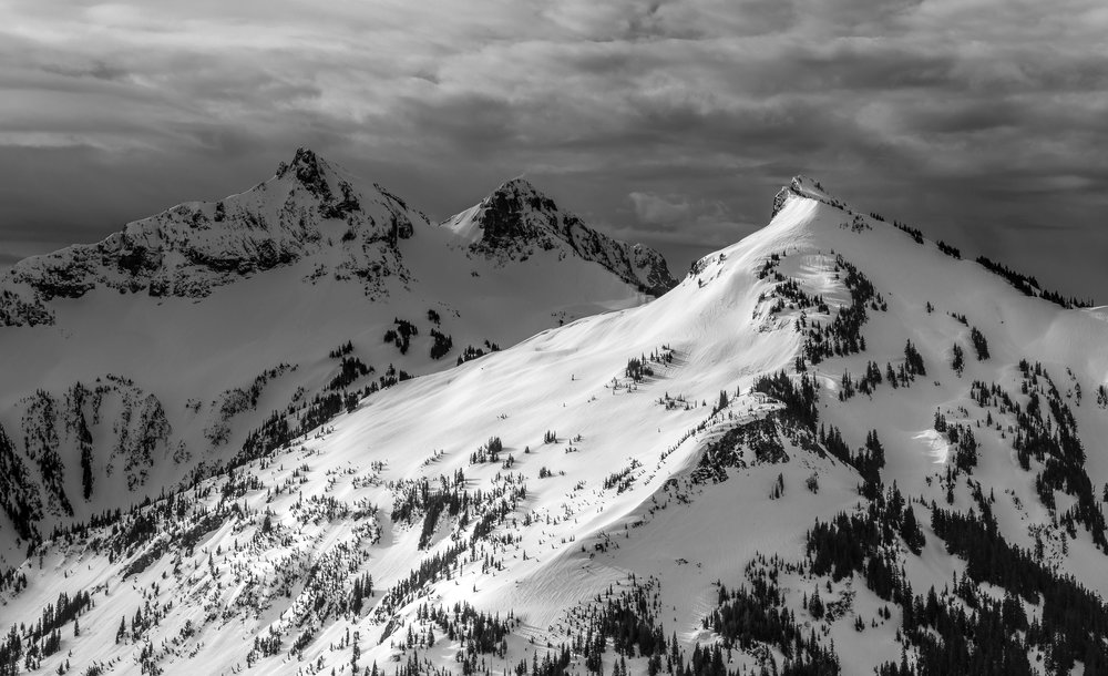 Unicorn Peak (left) and Manatee Mountain (right) of the Tatoosh Range, Mount Rainier National Park, WA