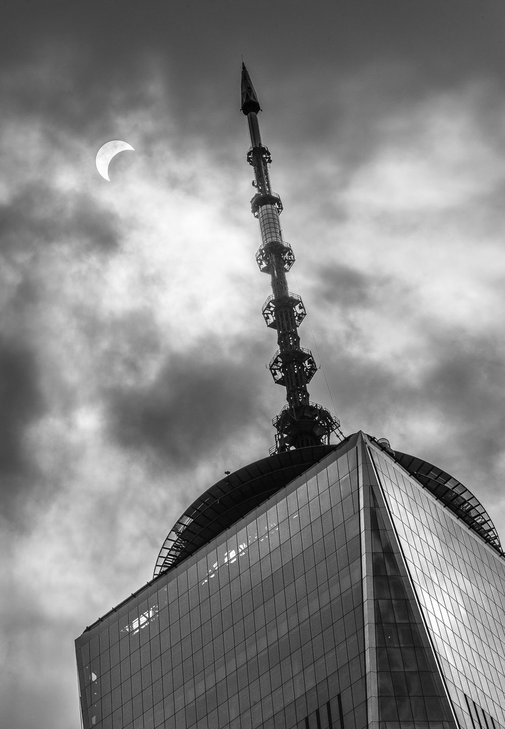 The solar eclipse of August 2017 behind the World Trade Center One building