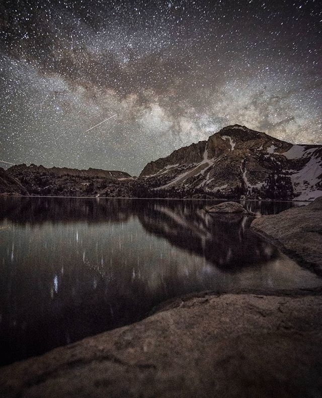 The galactic core peeks over Peeler Lake and Crown Point in Hoover Wilderness on the border of Yosemite  #astrophotography #yosemite #mountains #hooverwilderness #forest #lake #landscape #stars #nationalforest #milkyway #toiyabe #longexposure #nature #backpacking #wanderlust #tokina #summer #sierranevada #landscape @u.s.forestservice