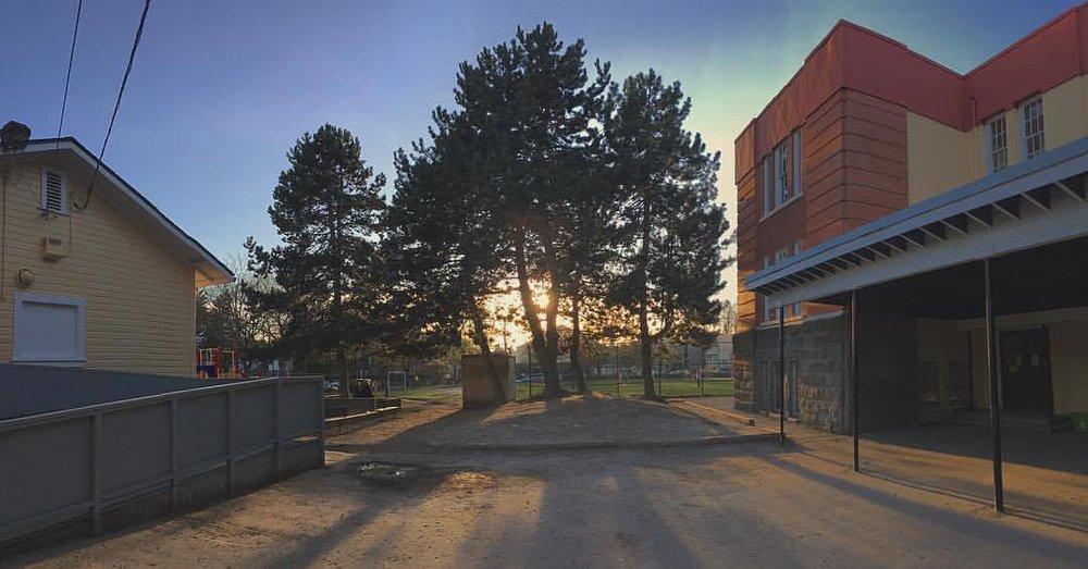 long shadows, blue skies (at Lord Tennyson Elementary School)