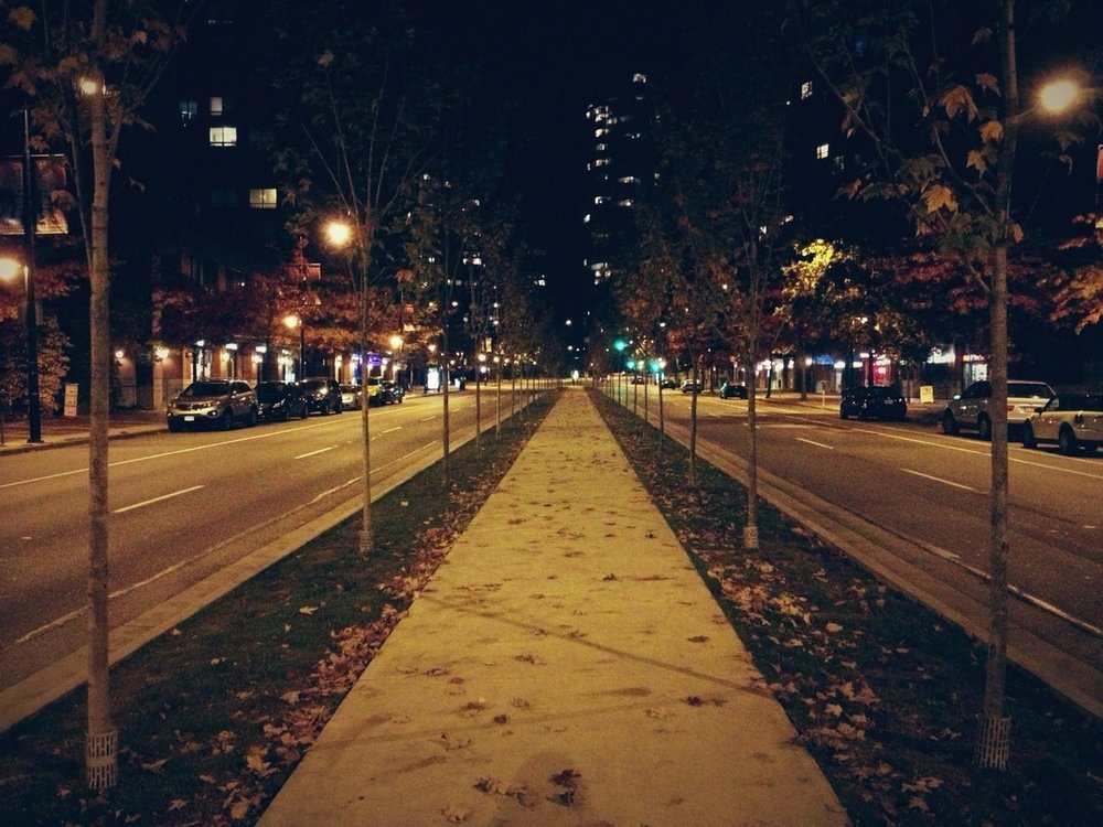 VanCity, late night. at Roundhouse Community Plaza – View on  Path .