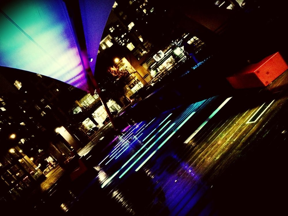 Very cool in the rain… at Roundhouse Community Plaza – View on  Path .
